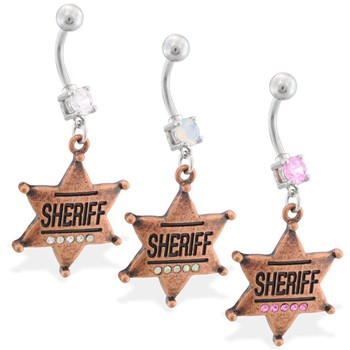 Navel ring with dangling jeweled sheriff badge