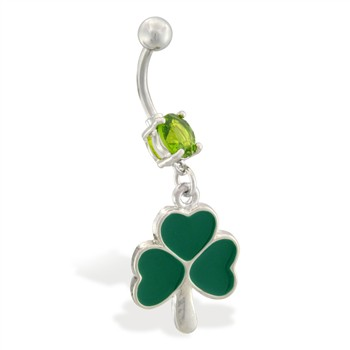Belly ring with dangling three leaf clover