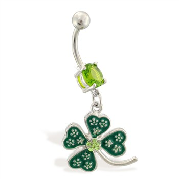 Belly ring with dangling jeweled four leaf clover
