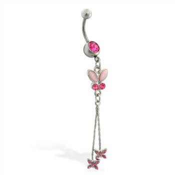 Navel ring with dangling pink jeweled butterflies on chains