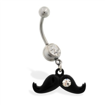 Jeweled belly ring with Dangling Black Mustache with CZ