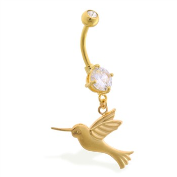 Gold Tone belly button ring with dangling humming bird