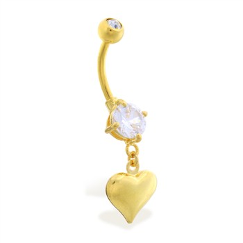 Gold Tone belly button ring with dangling heart