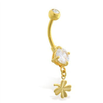 Gold Tone belly button ring with tiny dangling clover