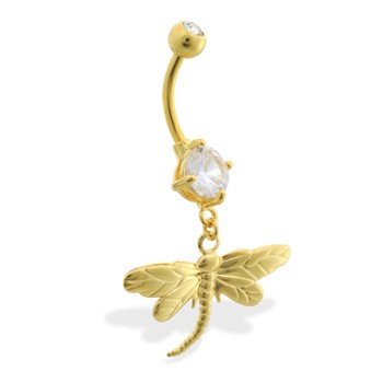 Gold Tone belly button ring with dangling dragonfly