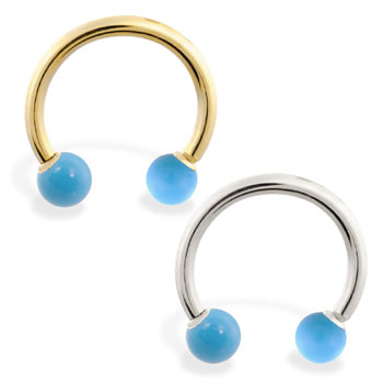 14K Gold Horseshoe/Circular Barbell with TurquoiseBalls