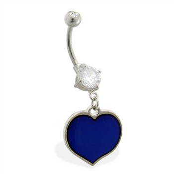 Double jeweled belly ring with dangling color changing heart