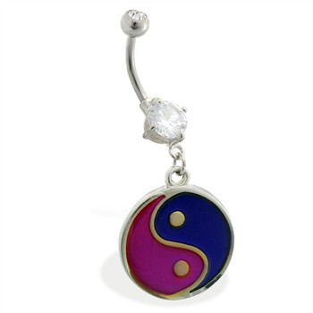 Double jeweled belly ring with dangling color changing ying-yang