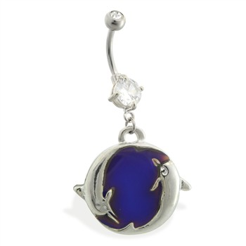 Double jeweled belly ring with dangling color changing dolphin charm