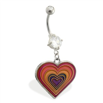 Double jeweled belly ring with dangling layered color changing heart