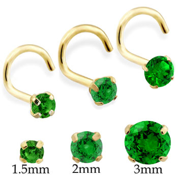 14K Gold Nose Screw with Round Emerald