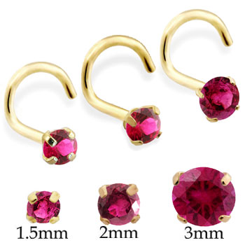 14K Gold Nose Screw with Round Ruby