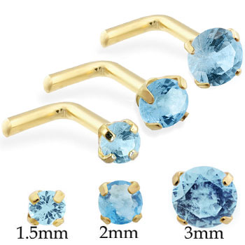 14K Gold L-shaped nose pin with Round Aquamarine