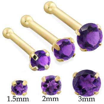 14K Gold Nose bone with Round Amethyst