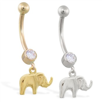 14K Gold belly ring with dangling elephant charm