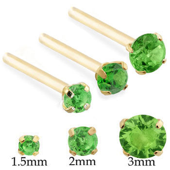 14K Gold Long Customizable Nose Stud with Round Peridot