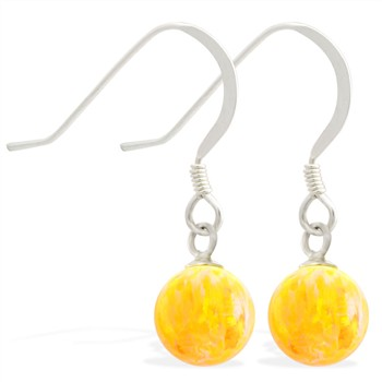 Sterling Silver Earrings with Dangling 8mm Yellow Opal Ball