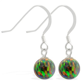 Sterling Silver Earrings with Dangling 8mm Rainbow Opal Ball