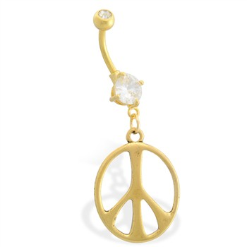 Gold Tone belly button ring with dangling Peace Sign
