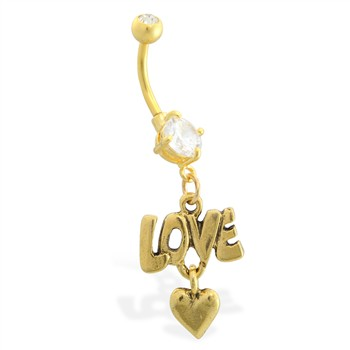 Gold Tone belly button ring with dangling Love and Heart