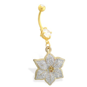 Gold Tone belly button ring with dangling Glittery Flower