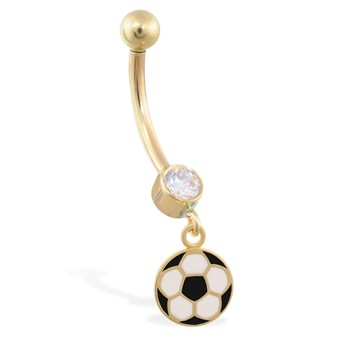 14K Yellow Gold jeweled belly ring with dangling enameled soccer ball charm