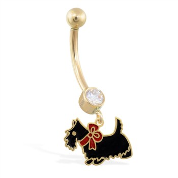 14K Yellow Gold jeweled belly ring with dangling enameled dog