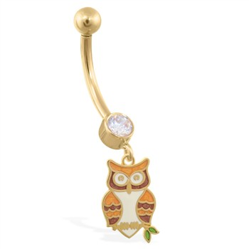 14K Yellow Gold jeweled belly ring with dangling Owl Charm