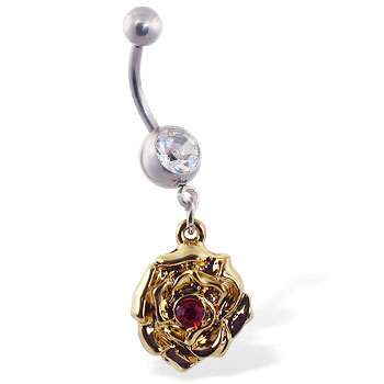 Navel ring with dangling yellow rose with red gem