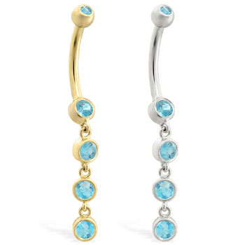 14K Gold belly ring with quadruple Aquamarine dangle