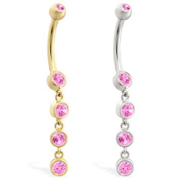 14K Gold belly ring with quadruple Pink Tourmaline dangle