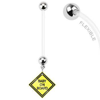 "Long flexible bioplast pregnancy belly ring with dangling ""Baby on Board"" sign"