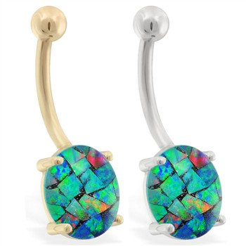 14K Gold Belly Ring with Opal Mosaic Triplet Stone
