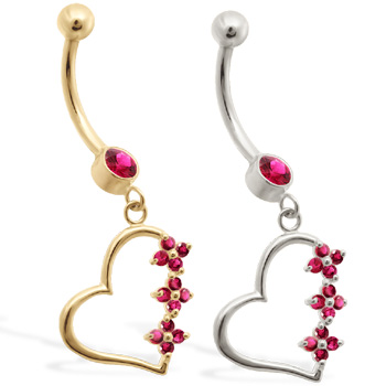 14K Gold belly ring with Ruby jeweled dangling heart