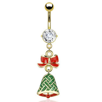 Gold Tone Christmas Belly Button Ring with Dangling Bow And Bell