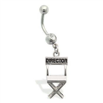 Belly Ring with dangling director's chair