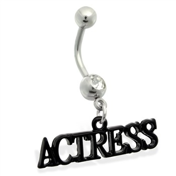 "Belly Ring with Dangling ""ACTRESS"""