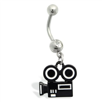 Belly Ring with dangling hollywood movie camera