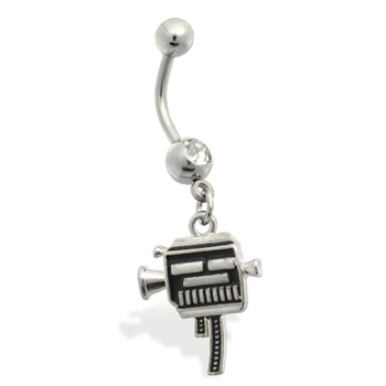 Belly Ring with dangling hollywood camera