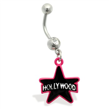 Belly Ring with dangling Pink and Black Hollywood Star