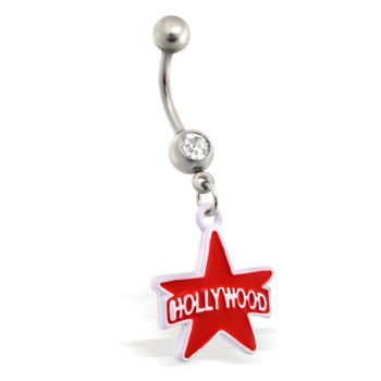 Belly Ring with dangling Red and White Hollywood Star