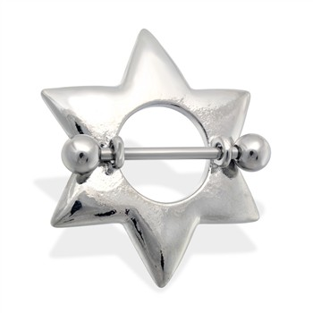 Pair of large star nipple shields, 14 ga
