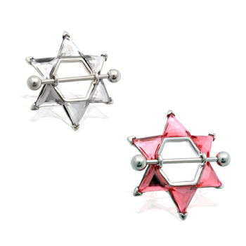 Pair of Jeweled star nipple shields, 14 ga