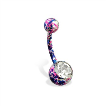 Jeweled pink and blue splatter belly ring