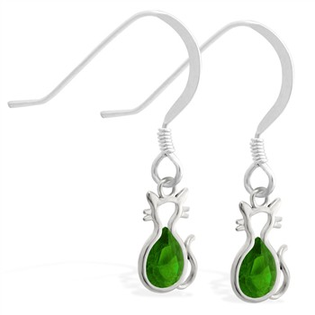 Sterling Silver Earrings with small dangling Emerald jeweled cat charm