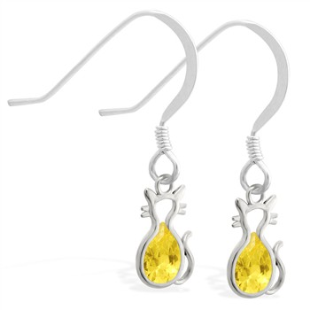 Sterling Silver Earrings with small dangling Citrine jeweled cat charm