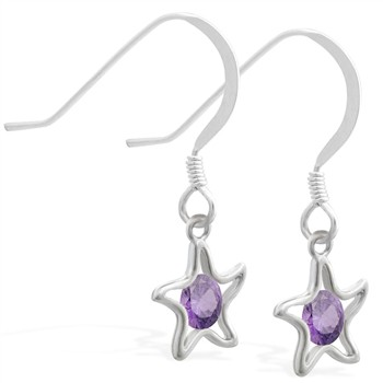Silver Earrings with dangling Amethyst jeweled star