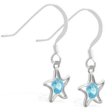 Sterling Silver Earrings with dangling Aquamarinejeweled star