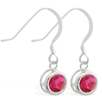Sterling Silver Earrings with 5mm Bezel Set round 5mm Ruby