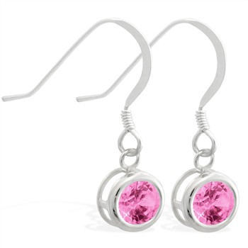 Sterling Silver Earrings with 5mm Bezel Set round 5mm Pink Tourmaline